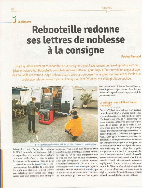Article Rebooteille - n°33 Agir à Lyon - P1