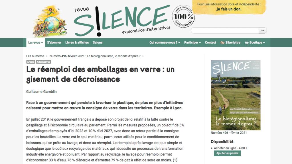 Article Rebooteille de Revue Silence - Page 1