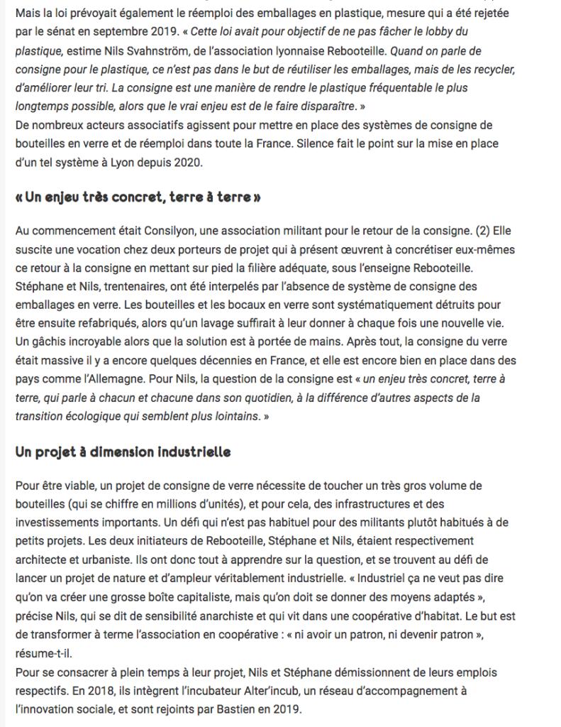 Article Rebooteille de Revue Silence - Page 2